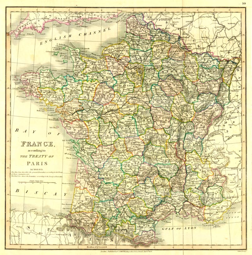 France According To The Treaty Of Paris 1815